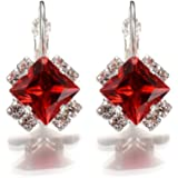 18K White Gold Plated Rhombus Red Crystal Diamond Earring for Women - Swarovski Elements