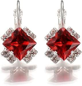 18K White Gold Plated Rhombus Red Crystal Diamond Earring for Women - Swarovski Elements