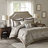 King Size Comforter Set - 5-Piece - Charlize King Jacquard Comforter Set - Soft Blue and Taupe - King / Cal-King Size by Comfort Spaces