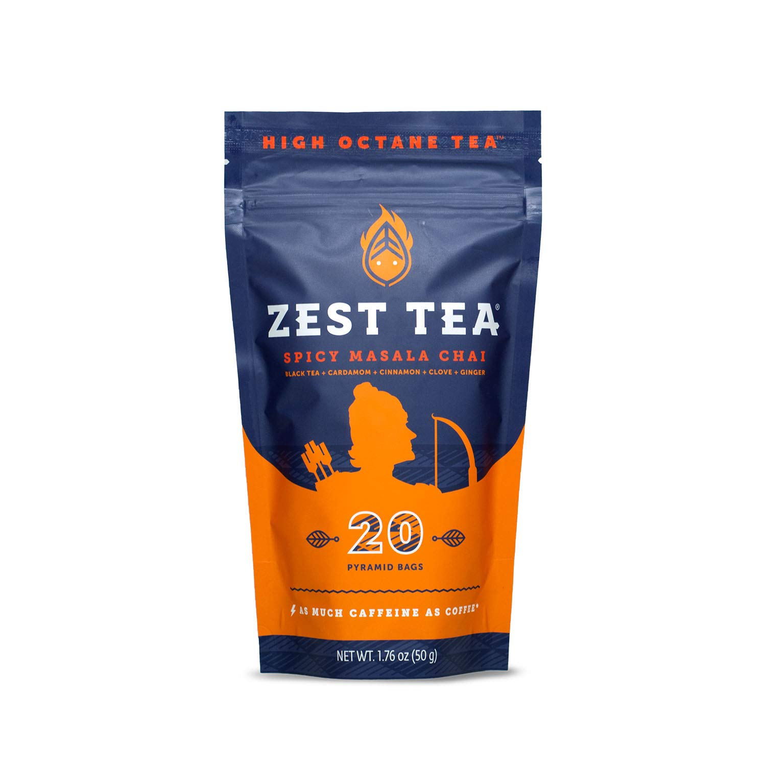 Zest Tea Premium Energy Hot Tea, High Caffeine Blend Natural & Healthy Traditional Coffee Substitute, Perfect for Keto, 150 mg Caffeine per Serving, Spicy Masala Chai Black Tea Pouch of 20 Sachet Bags