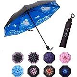 lanxiry Compact Travel Umbrella,Windproof Waterproof Stick Umbrella Anti-UV Protection Golf Umbrellas