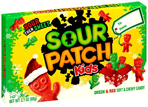 Sour Patch Kids Green & Red Christmas Holiday Gummy Candy - Gift Box, 3.1 Ounce (Pack of 12)