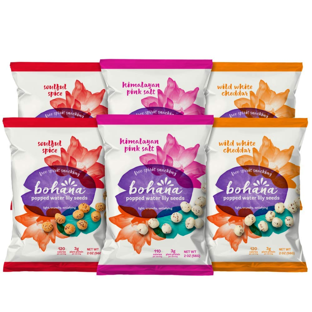 Bohana Gluten Free Popped Water Lily Seed Snack, Variety Pack 2 of Each Flavor, 2oz, (Pack of 6) by BOHANA