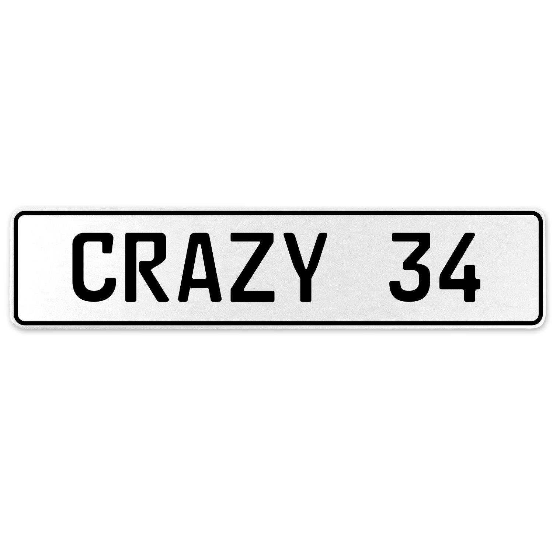 Vintage Parts 555621 Crazy 34 White Stamped Aluminum European License Plate