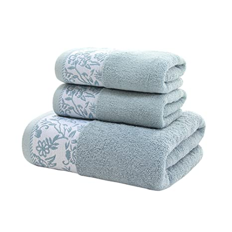 zhenxinmei 3 piezas Juego de toallas, 100% algodón natural – incluye 2 cara toallas
