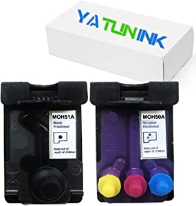 YATUNINK Remanufactured Printhead Replacement for HP GT51 GT52 M0H50A M0H51A Printhead for HP 5810 5820 GT5810 GT5820 GT5800 Ink Tank 310 318 319 410 418 419 Print Head(1Black 1 Tri-Color,2 Pack)
