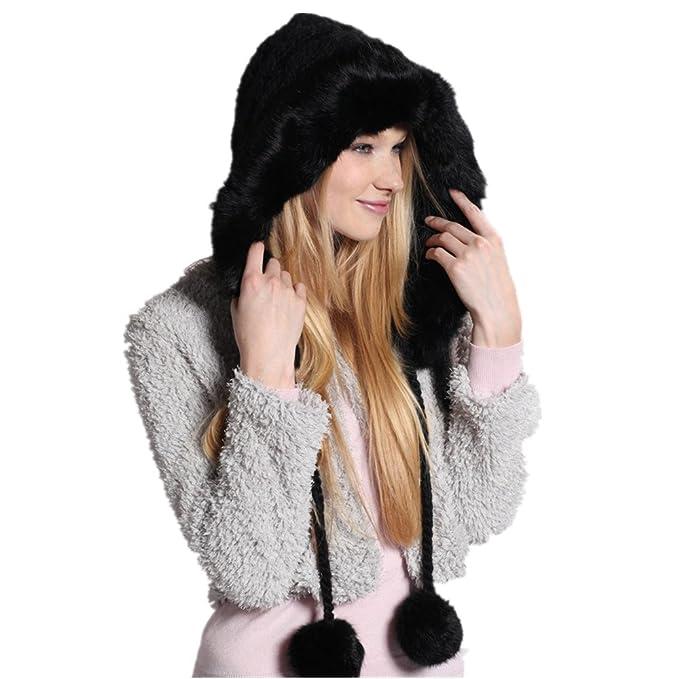 f7d25f7b4de Kenmont Women Beanie Hat Lady Winter Warm Hand Knitted Rabbit Fur Earflap  Outdoor Cap (Black