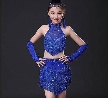 1d7168ed9 Children's Latin Dance Costume Tassel Two-piece Set Dance Costume Match  Rose Red Blue,