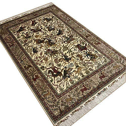 Camel Carpet Hand Knotted Silk Area Rug Wall Carpet 4'x6' ()