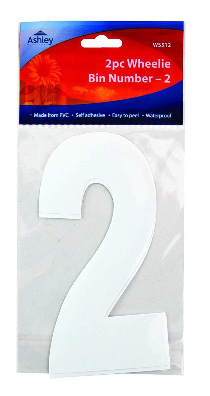 Wheelie Bin//Dust bin//Dustbin Number Stickers by PinkWebShop 3 2 X White Self Adhesive Wheelie Bin Numbers 17cm 2//Pk WS513