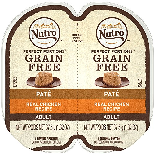 (NUTRO PERFECT PORTIONS Grain Free Natural Adult Wet Cat Food Paté Real Chicken Recipe, (24) 2.6 oz. Twin-Pack Trays)