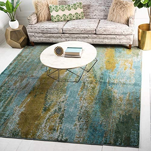 Unique Loom Jardin Collection Vibrant Abstract Turquoise Square Rug 8 0 x 8 0