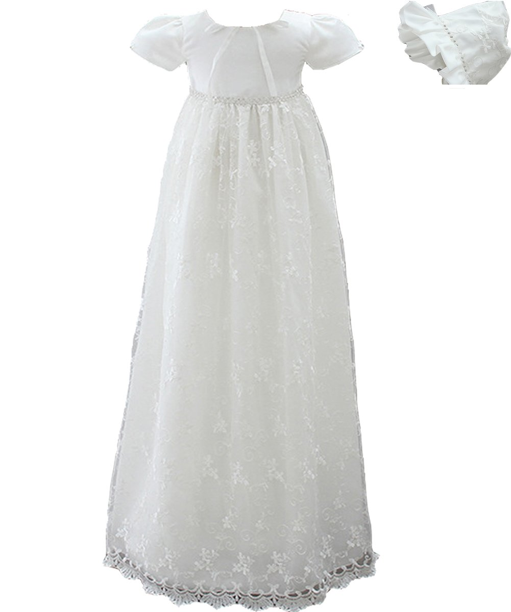 AHAHA Baby Girls Long Christening Gowns Special Occasion Dresses Baptism Formal Dress with Hat and Headband
