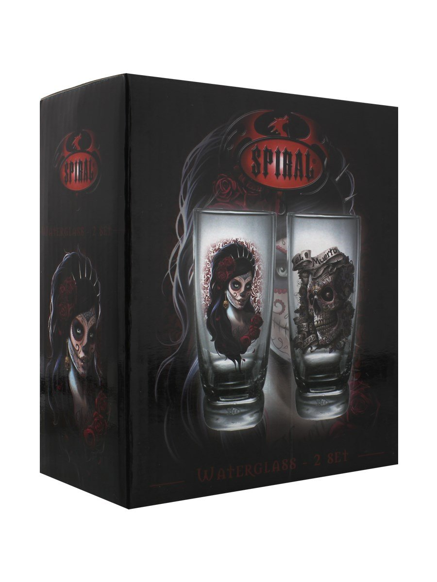 Set of 2 Drinking Glasses Spiral Day Of The Dead
