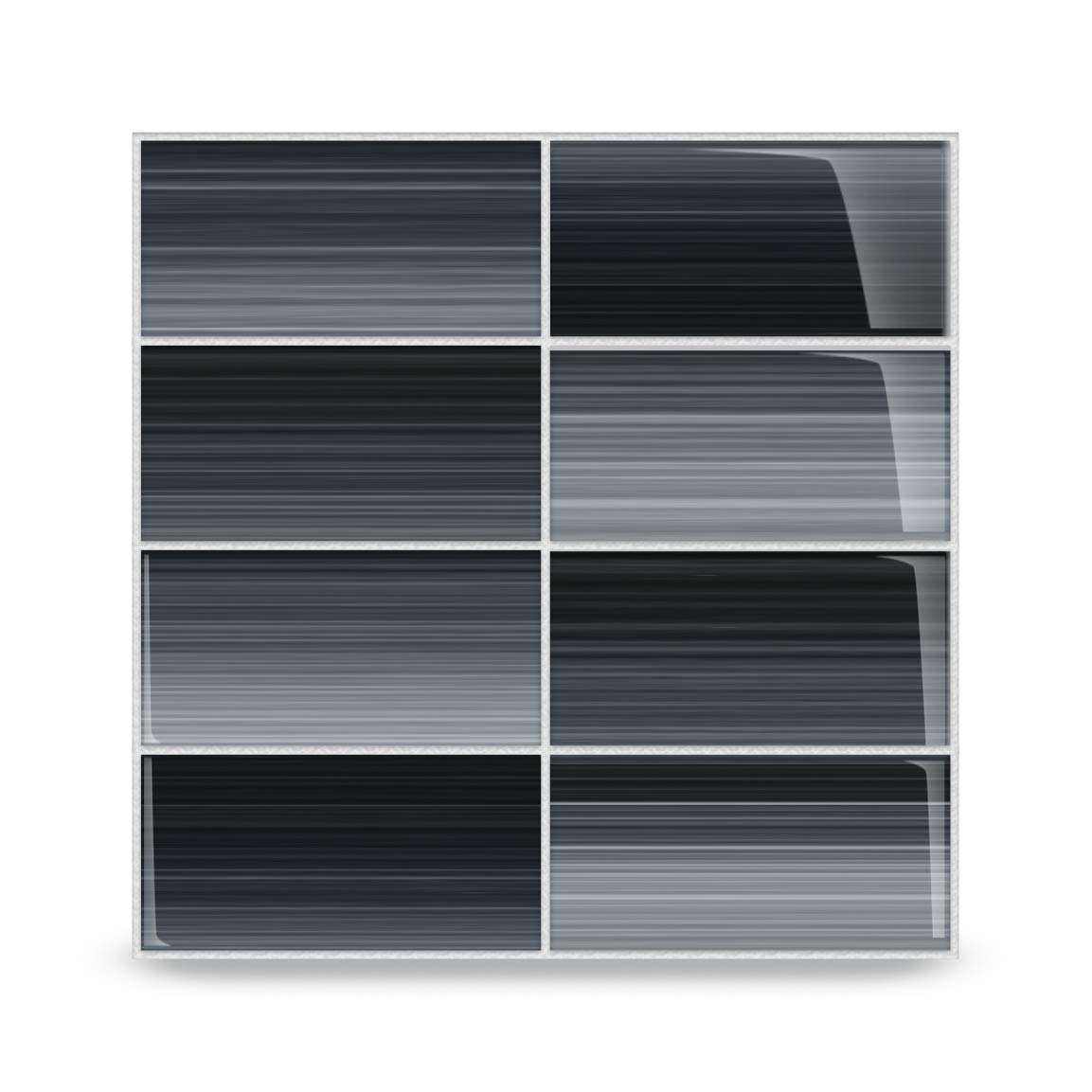 Bodesi - Late Night Glass Subway Tile for Kitchen Backsplash or Bathroom, 3x6 (5 Sq Ft Box)
