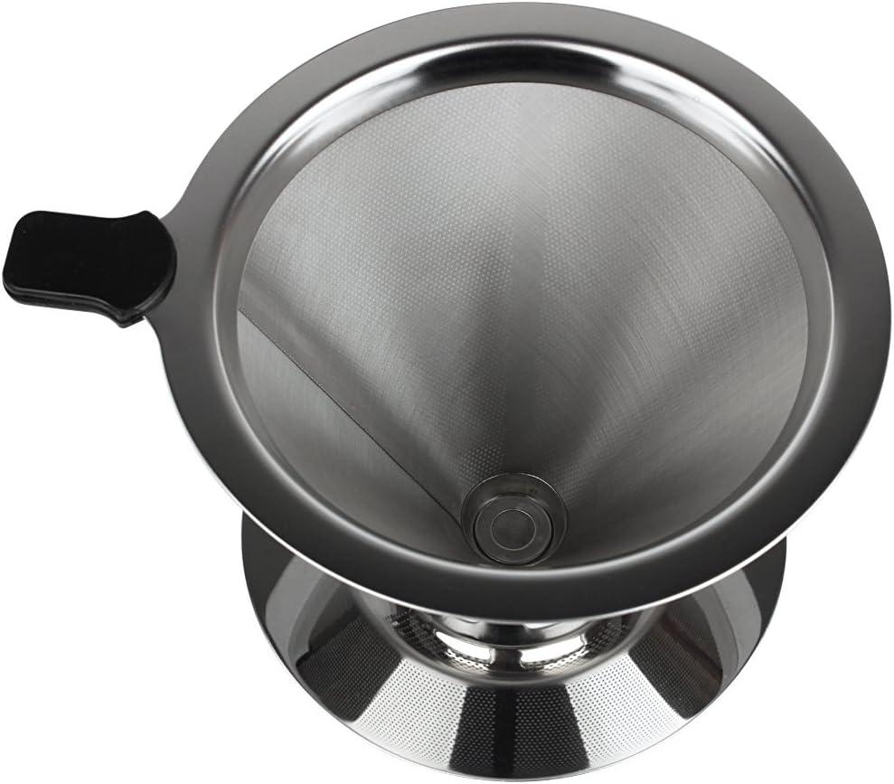 1-3 Tassen Andux Zone Kaffeefilter Pour Over Kaffee Dripper Dauerfilter Kaffeezubereiter Aufbr/ühen Edelstahl KFGLW-01