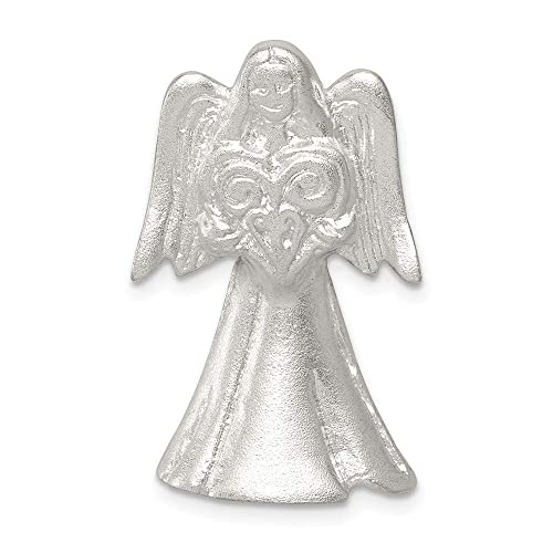 19mm x 28mm Solid 925 Sterling Silver Satin Finish Angel Pendant