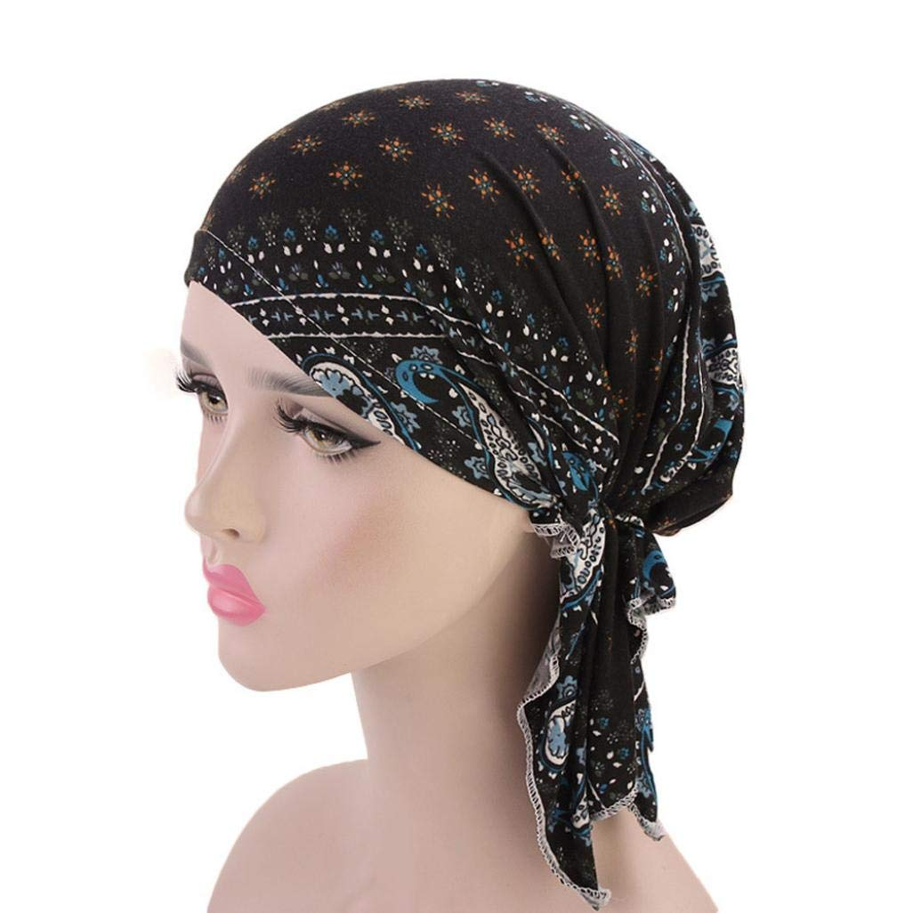 Suma-ma 11Colors Women Retro Country-Ethnic Style Print Indian Hat -Elegant Stretch Scarf Headgear