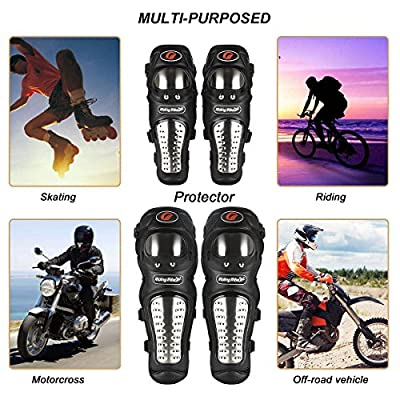GES Knee Pads Motorcycle - 4Pcs Adults Alloy Steel Motorcycle ATV Motocross Elbow Knee Shin Guards Protector Motocross Racing/Adult Knee (Long): Automotive