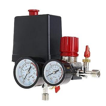 Presostato Compresor De Aire Válvula de control 90 - 120PSI + regulador de presión: Amazon.es: Bricolaje y herramientas