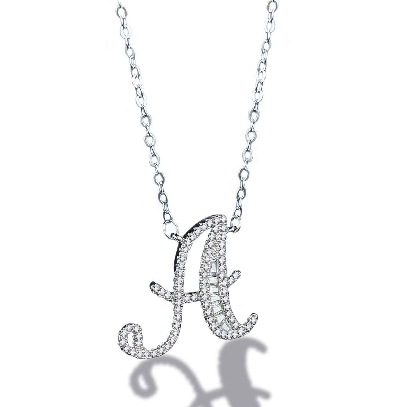 c25eb0b3dd83cf Amazon.com: Zaxicht Silver Plated Initial Necklace for Women Girls, 26  Letters Alphabet with Sparking Dainty Rhinestones Personalized Pendant  Necklaces (A): ...
