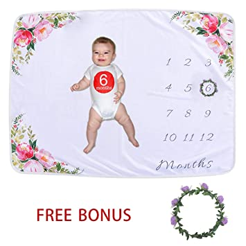 Soft Baby Blanket for Boy Girl Baby Milestone Blanket Newborn Photo Props Large 40 x 60 inches Cover Baby Shower Gift,Purple Flower