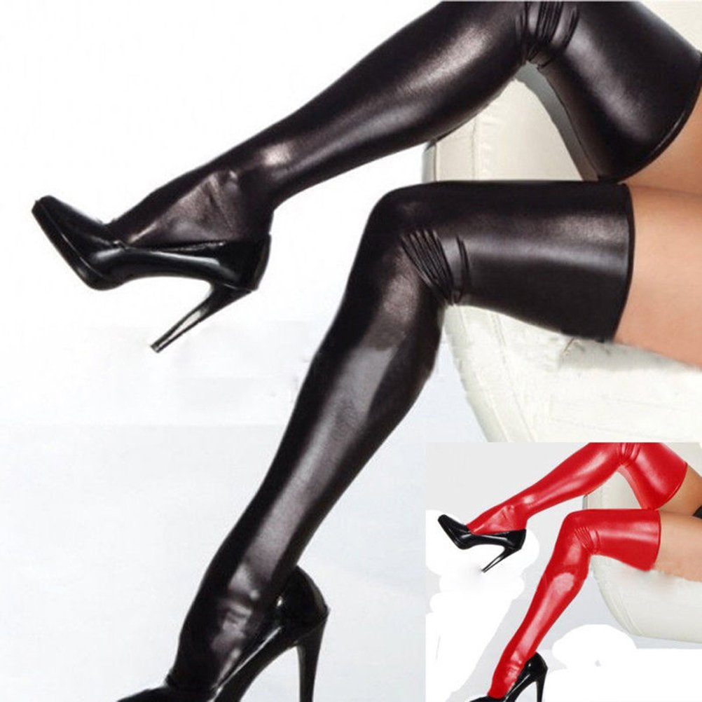 284c8206fb7 Tuesdays2 Women PU Leather Legging Stockings PVC Clubwear Thigh-High Sock  at Amazon Women s Clothing store