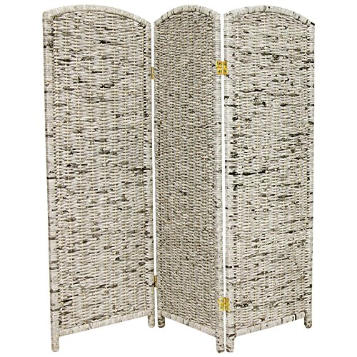 Oriental Furniture 4-Feet Tall Recycled Newspaper Room Divider, 3 (3 Panel Folding Floor Screen)