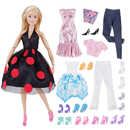 0c92d1235c4a Amazon.com: E-TING Lot 15 Items = 5 Sets Fashion Casual Wear Clothes Outfit  Party Dress with 10 Pair Shoes for Girl Doll: Toys & Games
