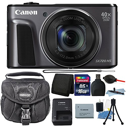 Canon PowerShot SX720 HS 20.3MP 40X Optical Zoom Wifi / NFC Enabled Digic 6 Processor Digital Camera Black with 16GB Top Bundle