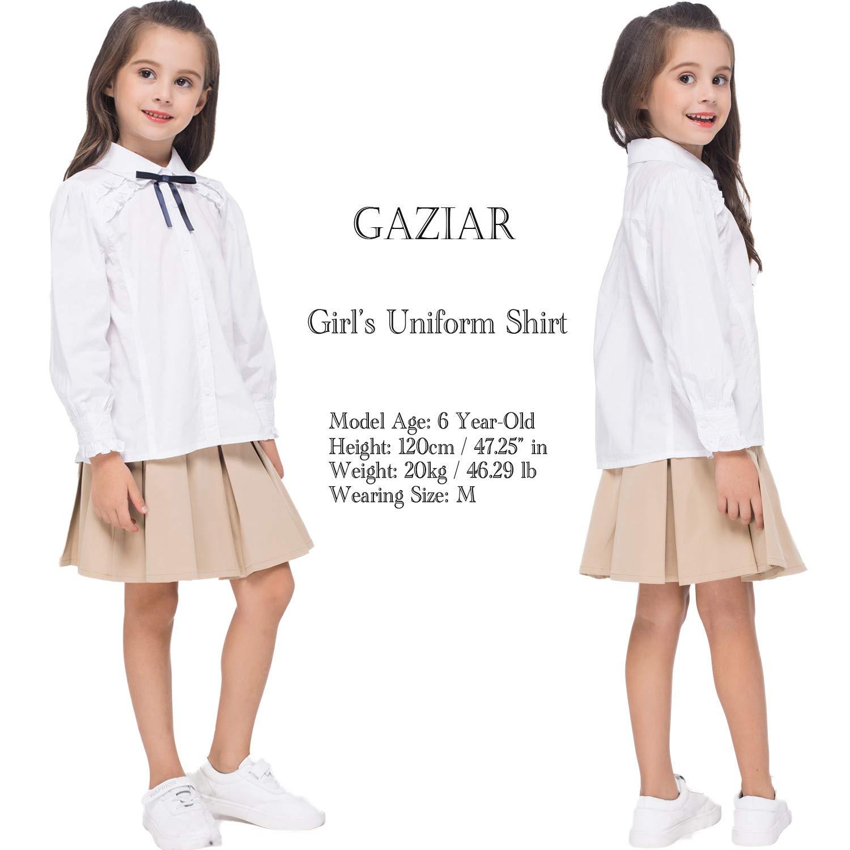 GAZIAR Girls/' Uniform Shirt Long Sleeve School Button Down Ruffle Blouse with Bowknot