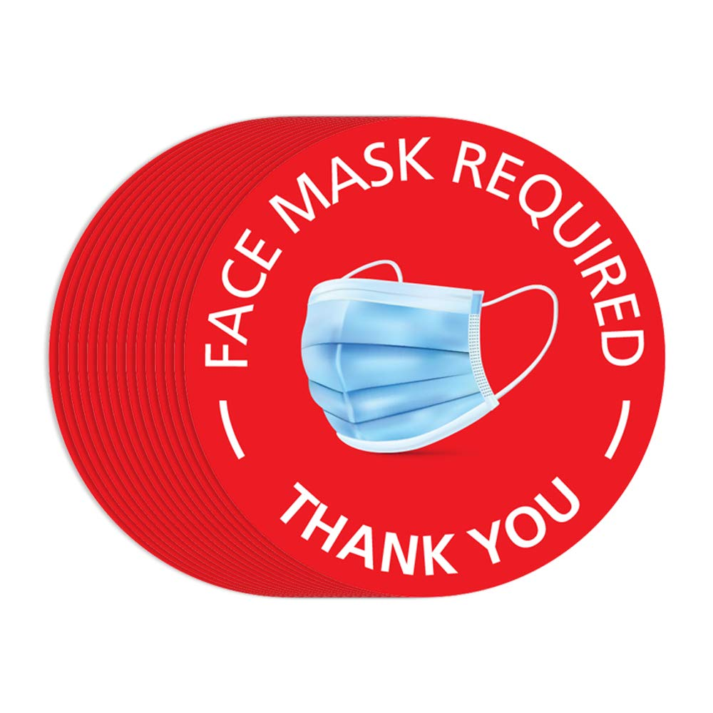 IGNIXIA (Pack of 15) Face Mask Required Sign Decals 7.5 x 7.5 inches Round Must Wear Face Mask Signage Red Mask Required Decals