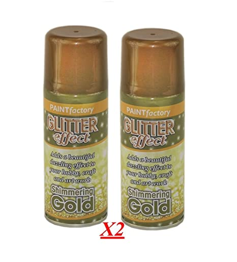 2x Glitter Gold Effect Spray Paint Decorative Creative Art Crafts