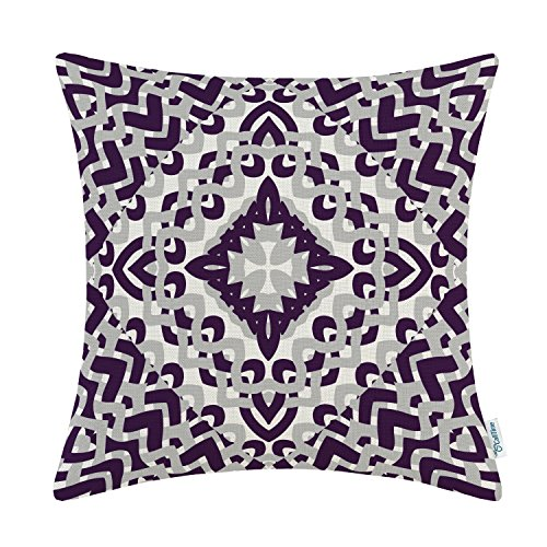 Purple Toss Pillow (CaliTime Canvas Throw Pillow Cover Case for Couch Sofa Home Decor, Modern Geometric Compass, 18 X 18 Inches, Deep Purple/Grey)