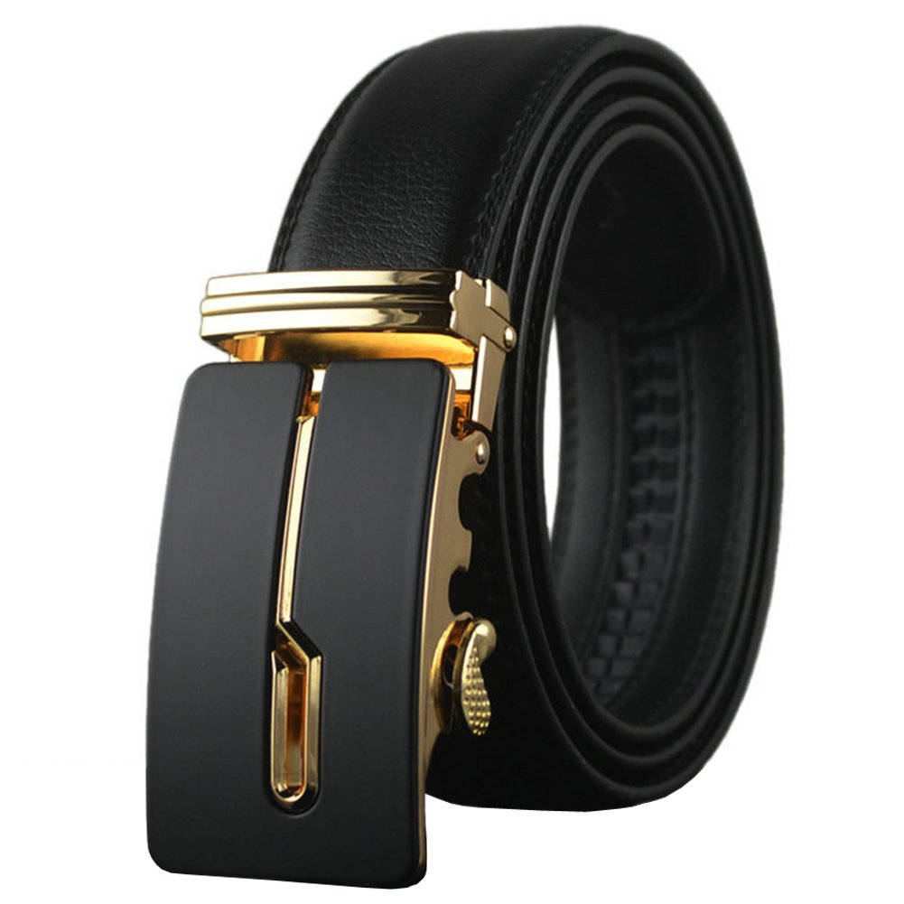 Plus Size Real Leather Belt for Men with Removable Automatic Buckle 1 3/8'' width Black 38''-54'' Length Men's Belts (Black, Up to 38'' waist)