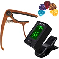 ZTTOC Guitar Tuner and Guitar Capo Set, Clip-On Tuner Digital Electronic Tuner Acoustic 7 Sets for Guitar, Bass, Ukulele, Violin, Banjo