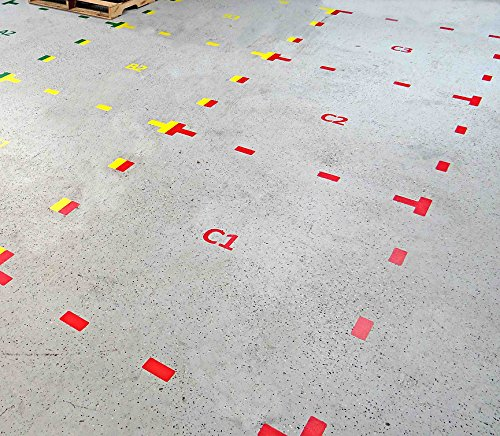 5S Location Marking T- Shaped Dual Corner, 6x6x2'' - by Graphical Warehouse - Durable Dual Corner Floor Sticker, Vibrant Colors (25 Pack) Yellow