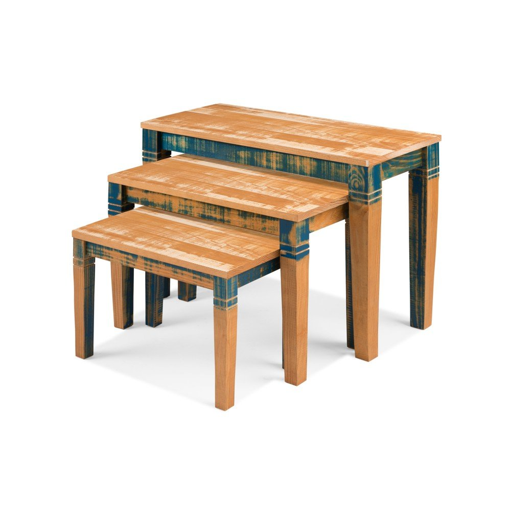 Reclaimed Nesting Table Solid Wood Distressed Color