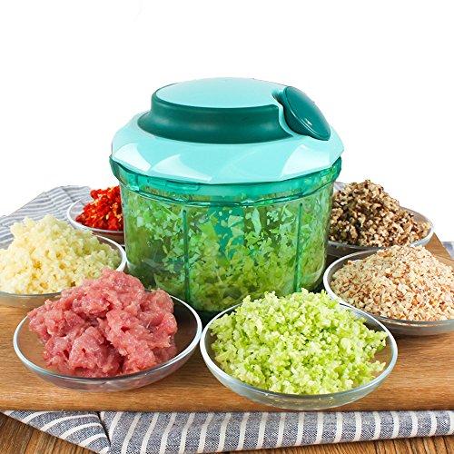 iStwahl 3 in 1 Multi Gemüse - Obst Zerkleinerer Weiß/Grün Mixer Frischhaltedose 0.9L Universalzerkleinerer