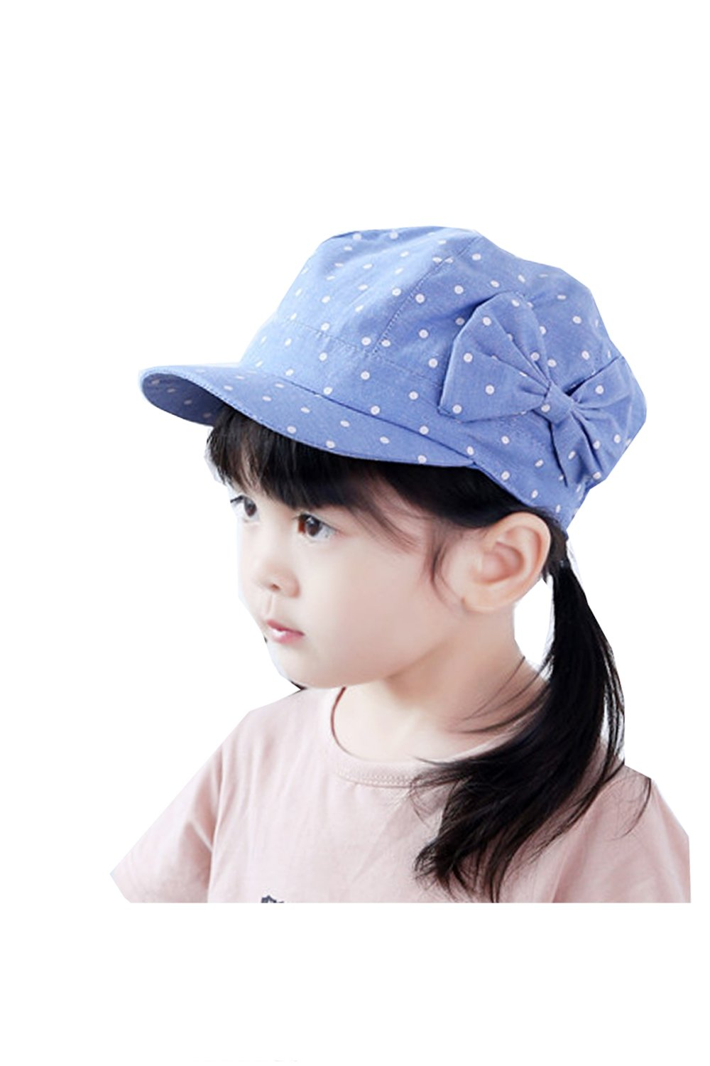 BonjourMrsMr Toddler Baby Girl's Cute Bowknot Polka Dot Cotton Beret Cap Hat(6m-4T)