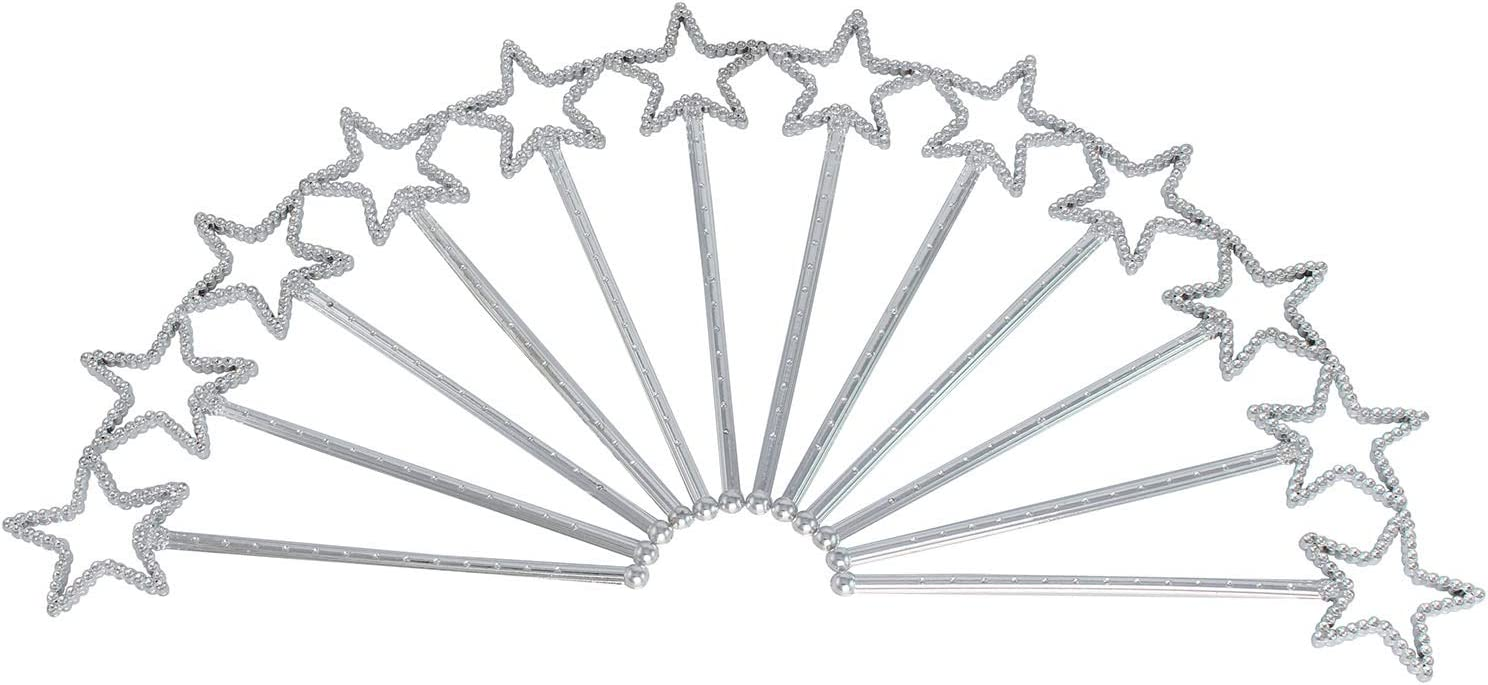Wands Princess Costume Party Play Set, Crowns Princess Pretend Play Set Easter Tiara Dress Up Play Set 12 Princess Crown Tiaras, 12 Wands, 24 Rings Princess Girls Party Favors and Jewels