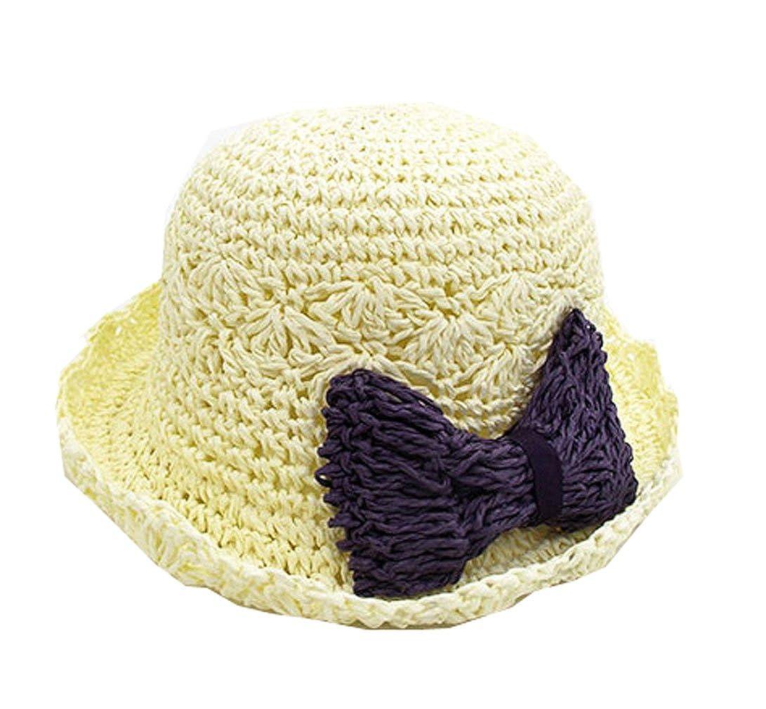 ALLDECOR Children Curling Bow Sun Protective Straw Hat Hand-Woven Beach Sun Hat