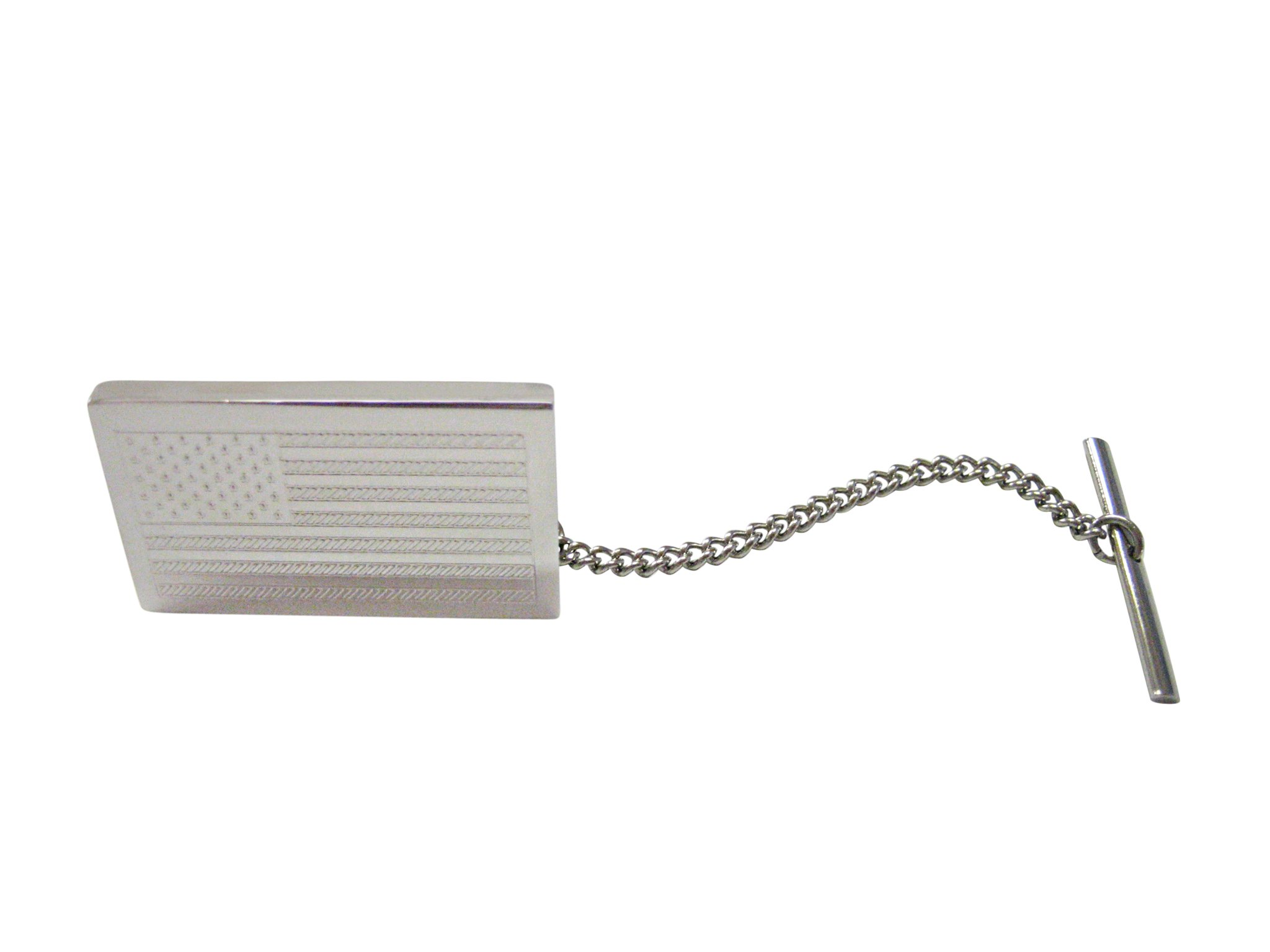Silver Toned Etched USA American Flag Tie Tack