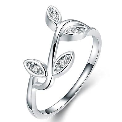 Amazon Com Women S Retro Leaf Design Eternity Love Promise Rings