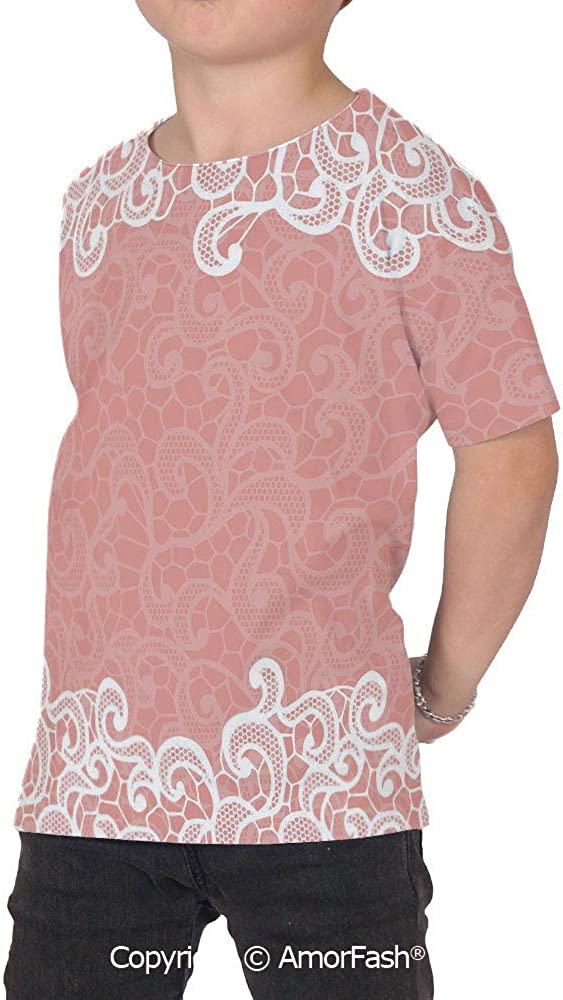 Peach Girls Short-Sleeve Midweight T-Shirt,Polyester,Lace Design on Soft Colored