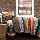 Extra Wide King Size Quilts Lush Décor Boho Striped Reversible 3 Piece Quilt Bedding Set - Turquoise/Tangerine - King Quilt Set