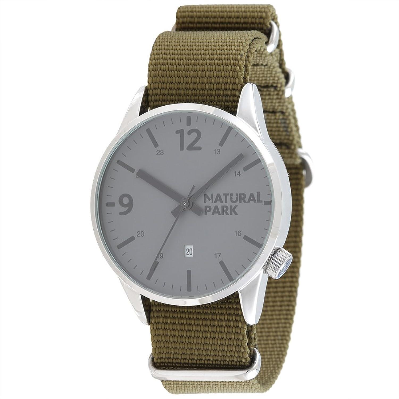 Herren Wasserdichte Sport-Uhr grau Zifferblatt mit Datum Fenster Armee GrÜn Nylon Gurt