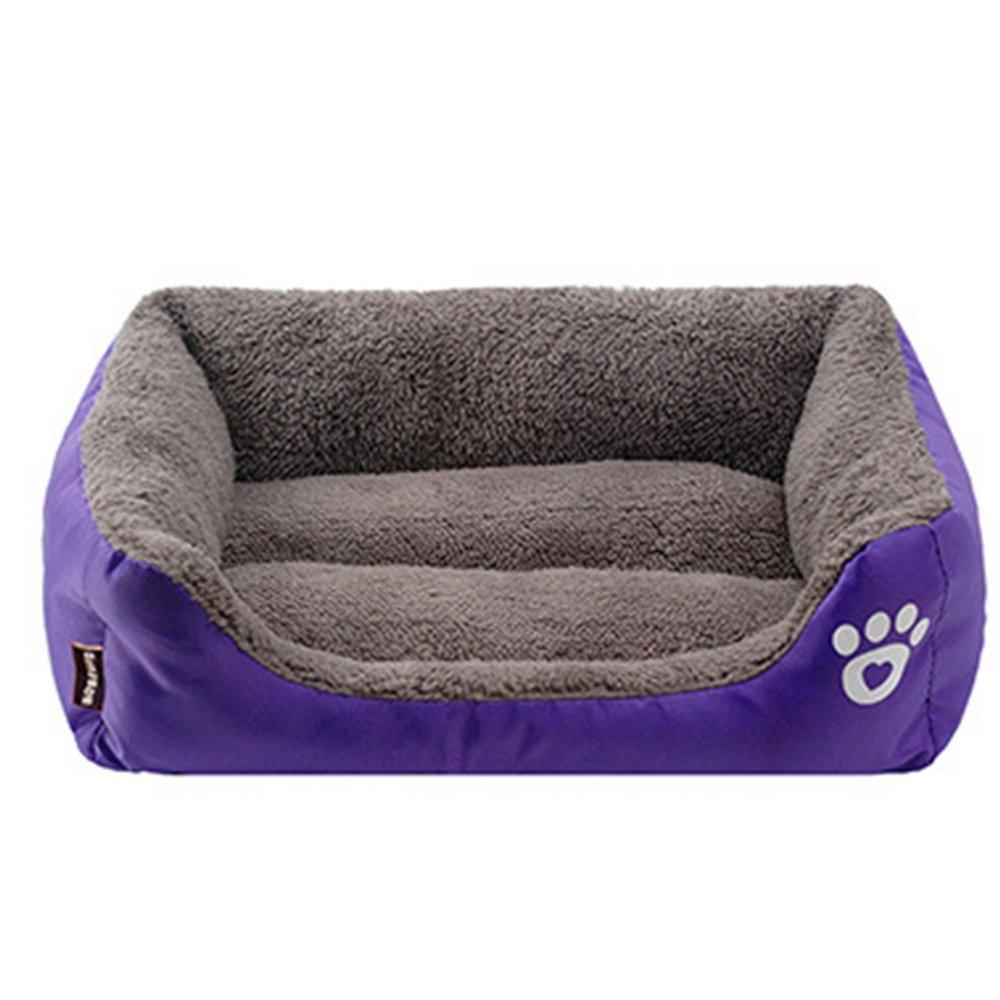 URIJK Cama de Perro, Mascota, Acolchado Suave con Cojín para Gato Perro Pequeño, Color Púrpura, Tamaño: 45cmx40cmx12cm