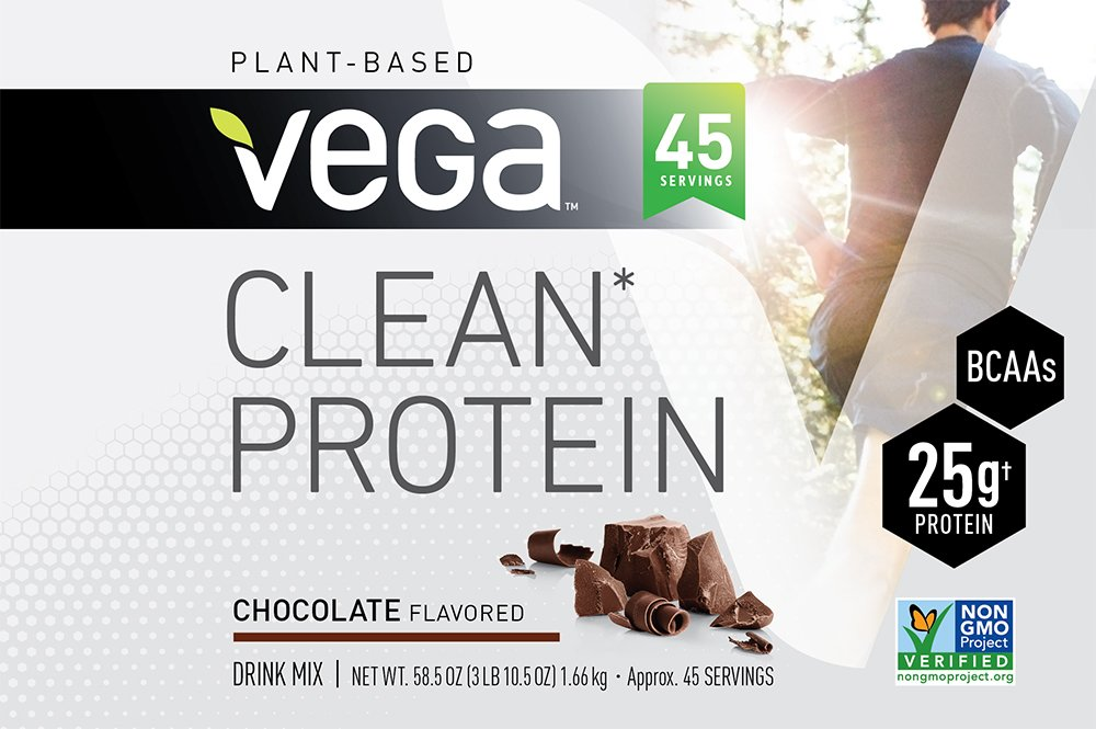 Vega Clean Protein Powder Chocolate (45 Servings, 3 lb 10.5 OZ) - BCAAs, Non Dairy, Gluten Free, Non GMO by Vega (Image #2)
