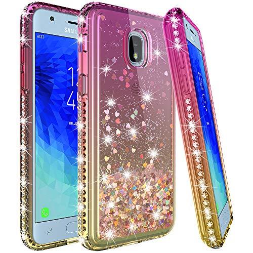 LK Case for Samsung Galaxy J7 2018/J7 V 2rd Gen/J7 Aero/J7 Top/J7 Refine/J7 Eon/J7 Star/J7 Aura,[Gradient Quicksand Series] Glitter Floating Flowing Sparkle Bling Diamond Clear Protective-Gold